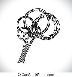pensée, icon(sign), résumé, esprit, cerveau, humain, anneaux...