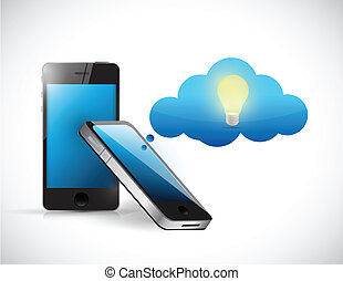 pensée, idée, illustration, téléphone, conception, nuage