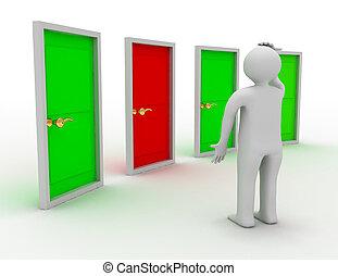 pensée, illustration, quatre, doors., devant, homme, 3d