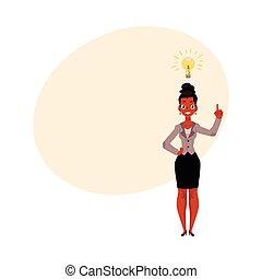 pensée, inspirer, business, femme affaires, perspicacité, ...