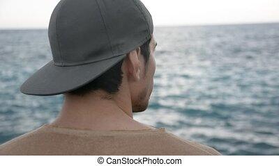 pensée, jeune, écriture, mer, homme