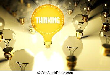 pensée, lumière, concept, ampoules