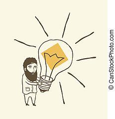 pensée, lumière, homme barbu, ampoule