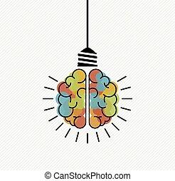 pensée, lumière, idées, créatif, cerveau, ampoule, nouveau