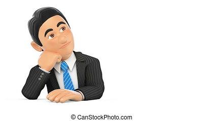 pensée, métrage, arrière-plan animation, homme affaires, blanc, 3d