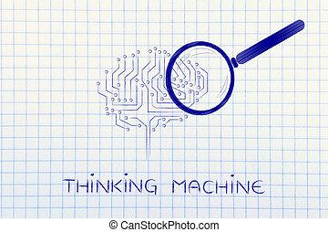 pensée, machine, cerveau, verre, électronique, magnifier