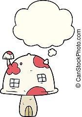 pensée, maison, bulle, dessin animé, champignon