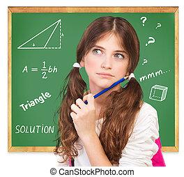 pensée, mathématiques, sur, tâche