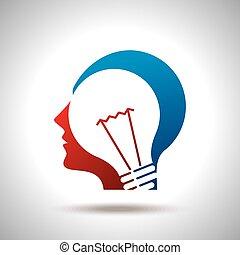 pensée, nouveau, tête, idée, humain