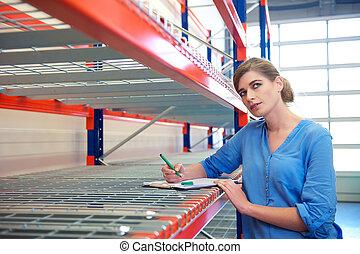 pensée, ouvrier, écriture, inventaire, femme, entrepôt