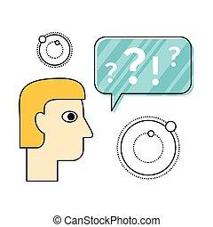 pensée, plat, concept, illustration, design.