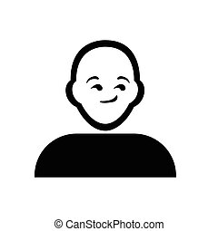 pensée, plat, noir, emoticon, icône