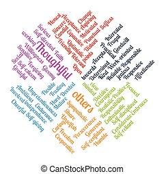 pensée, positif, illustration, vecteur, mots, nuage