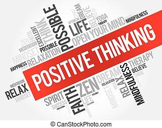 pensée, positif, mot, nuage