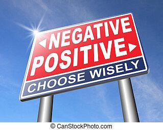 pensée, positif, négatif, ou