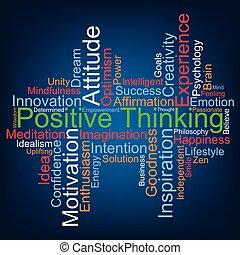 pensée, positif, nuage, mot, vecteur