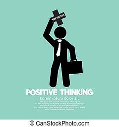 pensée, positif, vecteur, illustration, homme affaires