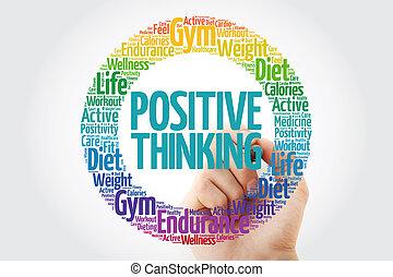 pensée positive, cercle, mot, nuage