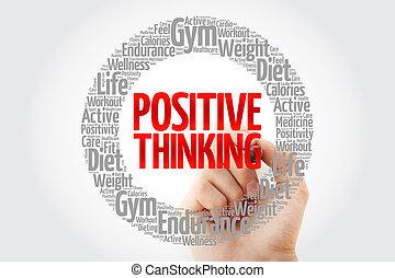 pensée positive, mot, nuage, collage