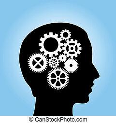 pensée, processus, image, vecteur
