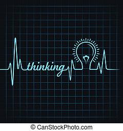 pensée, pulsation, faire, mot