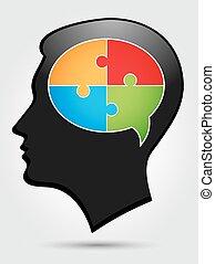 pensée, -, puzzle, têtes