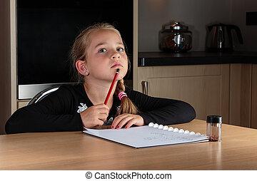pensée, quoique, devoirs, jeune fille