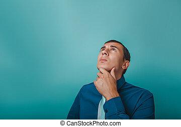 pensée, retro, arrière-plan bleu, homme