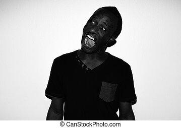 pensée, spooky, horreur, jeune, noir, africaine, portrait, blanc, homme
