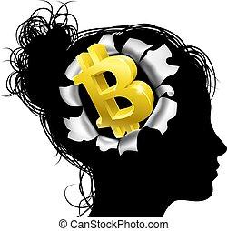 pensée, sur, bitcoin