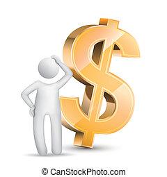pensée, symbole monétaire, homme, 3d