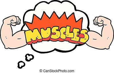 pensée, symbole, muscles, bulle, dessin animé