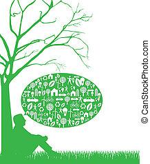 pensée, vert