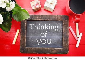 pensée, vous, message, tableau