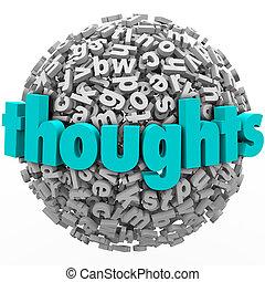 pensées, lettre, sphère, comments, réaction, idées