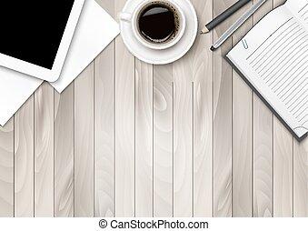 pens., ワークスペース, オフィス, コーヒー, -, タブレット, いくつか, ペーパー, vector.
