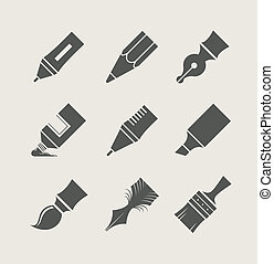 Pens and brushes for drawing. Set of simple icons. Vector...