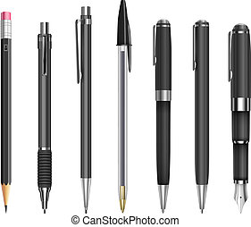 Set of pens and pencils for office, constructor and schools, vector illustration
