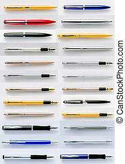 Pens collection isolated on white