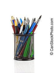 pens in holder basket on white - pens in holder basket...