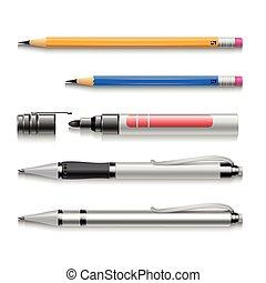 Pens, pencils, markers, realistic vector set of writing tools