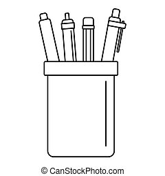 Pens set icon, outline style