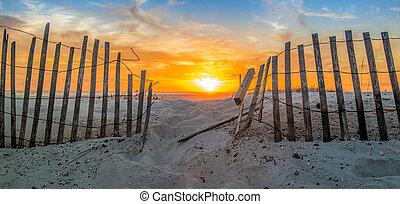 Pensacola Beach Fence - Sunset on Pensacola Beach, FL.