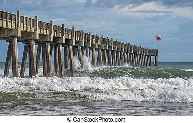 Pensacola Beach Pier as Tropical Storm Hermine Passes -...