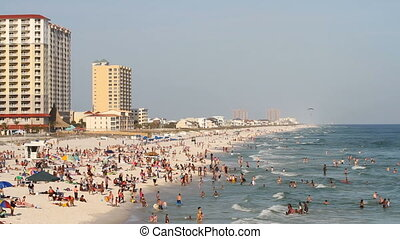 Pensacola Beach Spring Break - Tourists fill the beach...
