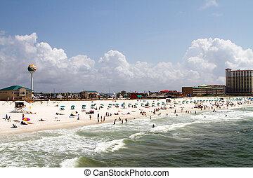 Pensacola Beach - Tourists and vacationers sunbath and swim...