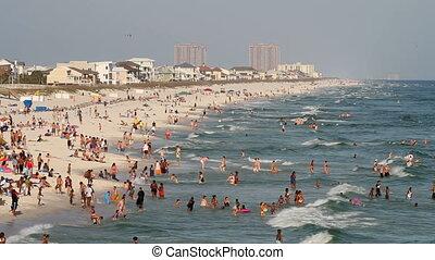 pensacola, plage, touristes