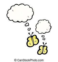 pensamento, bolhas, borboletas, caricatura