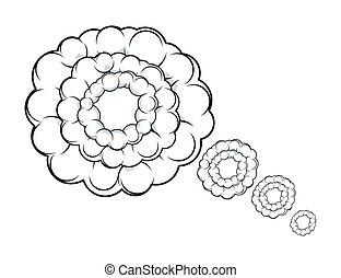 pensamento, cômico, vetorial, bolha