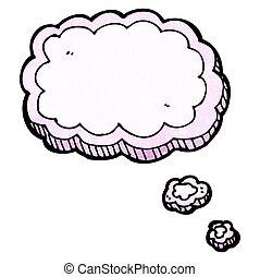 pensamento, caricatura, nuvem